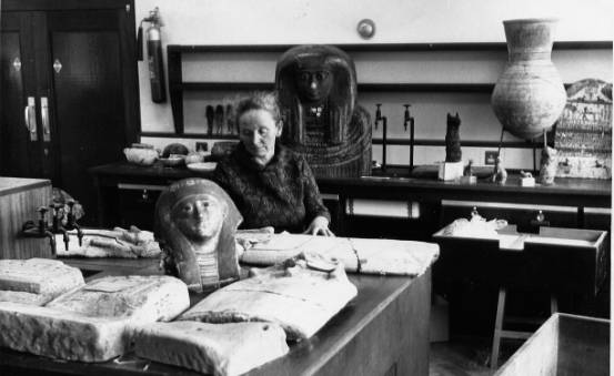 Kate Bosse-Griffiths curating the collection in the chemistry department April 1972